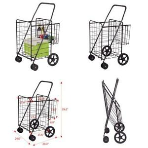 Folding Shopping Cart Jumbo Basket Grocery Laundry Travel W Swivel Wheels Allbl