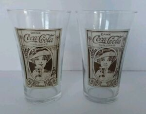 Vintage Coca Cola Set of 2 Soda Fountain Glasses Brown Woman Lady Rare