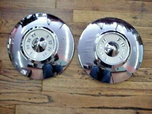 2 Vintage 1955 56 Ford T Bird Fairlane Dog Dish Hubcaps Wheel Covers Nice