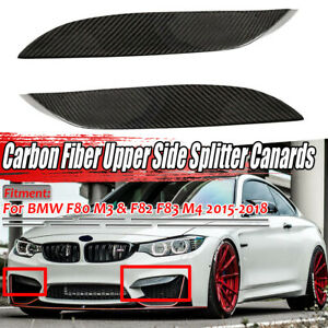 Carbon Fiber Front Bumper Side Splitter Canard Lip Spoiler For Bmw F80 M3 F82 M4