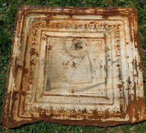 Antique 23 X 25 Salvaged Victorian Metal Tin Ceiling Tile