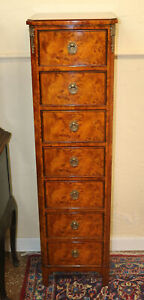 Superb Bronze Mounted French Louis Xvi Lingerie Chest Dresser Burled Walnut