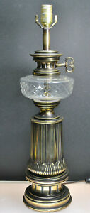 Vintage Stiffel Antique Solid Brass Table Lamp With Cut Crystal Bowl
