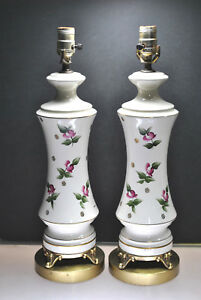 Signed Vintage Porcelain Lamps With Hand Painted Rose Design Gold Gilt Pair