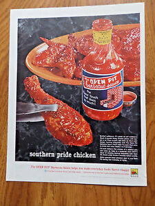 1961 Open Pit Barbecue Sauce Ad Southern Pride Chicken