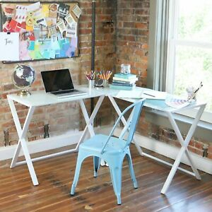 Porch Den Hardy X frame Glass And Metal L shaped Computer Desk
