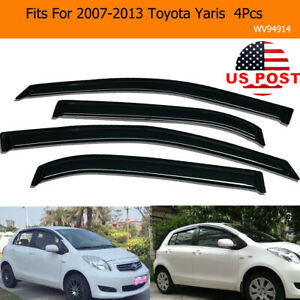 4pcs For 2007 2013 Toyota Yaris Window Visors Sun Rain Guard Side Wind Deflector