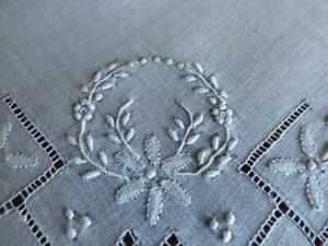 Antique French Linen Handkerchief Lace Hand Embroidered Crown