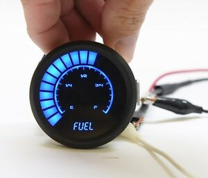2 1 16 Universal Analog Fuel Gauge Blue Leds Black Bezel 52mm Made In The Usa