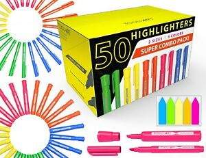 50 Chisel Tip Highlighters Markers Bulk Assorted Colors Tank And Pen Type Combo