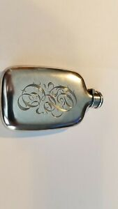 Rare Size Sterling Silver Oval Hip Hunting Flask With Bayonet Top 2oz