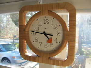 Howard Miller Wall Clock George Nelson Assoc Model 622 654 Square Cane Wrapped