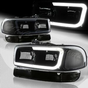 For 1999 2006 Gmc Sierra 1500 2500 G2 Drl Led Black Smoke Headlights bumper 4pcs