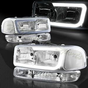 For 1999 2006 Gmc Sierra 1500 2500 G2 Drl Led Chrome Clear Headlights bumper 4pc