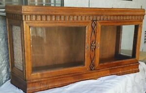 Vtg Carved Oak Tabletop Wall Cabinet Curio China Cupboard Beveled Glass