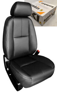 2007 2009 Gmc Sierra Crew Cab Katzkin Black Leather Seat Covers Kit Ebony Match