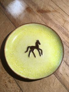 Mid Century Modern Enamel On Copper Horse Pony A G Bunge Plate Dish 30s 1967 Vtg
