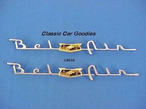 1953 1954 Chevy Belair Chrome Side Scripts New Pair