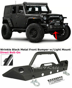 For 07 17 Jeep Wrangler Jk Front Bumper Replacement Thick Steel Oe Size Fog