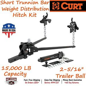 17422 Curt Short Trunnion Bar Weight Distribution Hitch Kit With A 15 000 Lb Gtw
