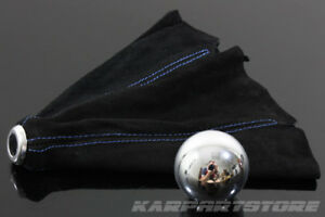 Jdm Round Polish Aluminum Shift Knob Blue Stitched Suede Boot For Acura Integra