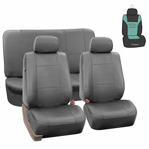 Gray Pu Leather Car Seat Split Bench Covers Auto Car Suv W Free Air Freshener