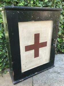 Antique First Aid Cabinet Original Vintage Wooden Medical Cabinet Circa 1900s