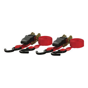 83001 Curt 10 Red Cargo Straps With S Hooks500 Lbs 2 Pack
