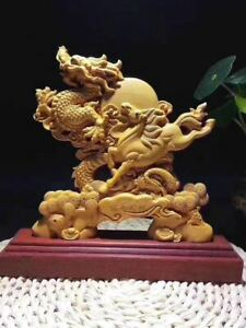 9 Natural Boxwood Wood Carved Fengshui Zodiac Dragon Horse Sculpture Statue