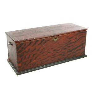 Great Signed 18th Early 19th Century Pine Blanket Chest Wonderful Original Paint