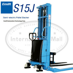 Semi electric Pallet Straddle Stacker 118 Raised Powered Lift Trucks Forklifts