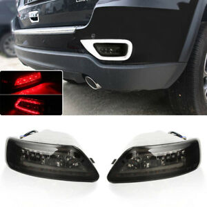 Fits 11 15 Jeep Grand Cherokee Compass Smoked Lens Led Rear Fog W C Rings Lights