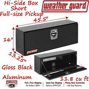 346 5 02 Weather Guard Black Aluminum Hi Side Box Top Mount 45 Truck Toolbox