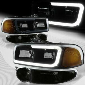For 2002 2007 Gmc Sierra 1500 Denali Drl Led Black Smoke Amber Headlights bumper