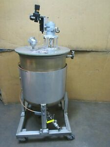 Stainless 40 Gal Gallon Portable Mobil Cone Bottom Pneumatic Mixing Tank