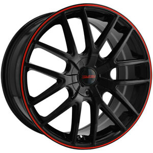 4 Touren Tr60 16x7 5x110 5x115 42mm Black Red Wheels Rims 16 Inch