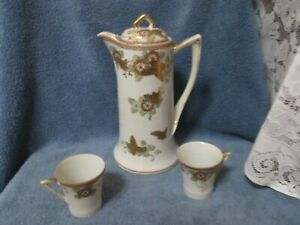 Vintage Hand Painted Chocolate Pot Raised Metallic Gold Beaded Paint W 2 Cups