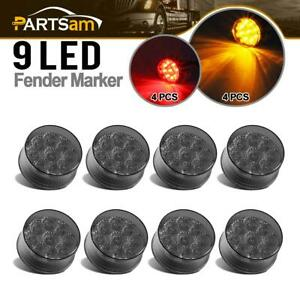 8x 2 Inch Round 9 Led Smoke Cover Amber red Side Marker Clearance Lights Sealed