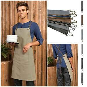 Contrast Dungaree Style Apron Straps Strings Ties Barista Cafe Chef Kitchen Cook
