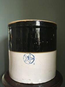 Large Antique Two Toned Stoneware Crock Blue Star 6 Gallon