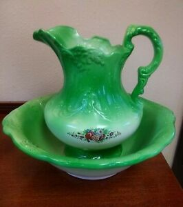 Victorian Ironstone England Green Floral Pitcher And Wash Basin Bowl Large