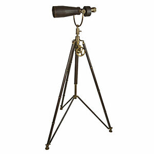 Monocular On Tripod 67 Solid Brass Telescope Nickel Hand Sewn Leather Nautical