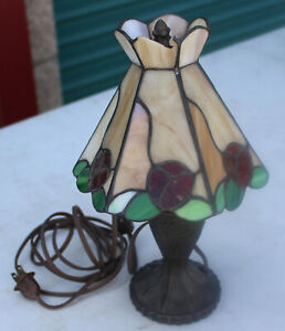 Antique Heyco Stained Glass Rose Flower Metal Base Lamp Lampshade 11 Miniature