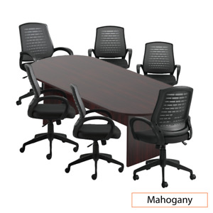 Gof 8 Ft Conference Table With 6 Chairs g10902b Mahogany 7 piece Table Set