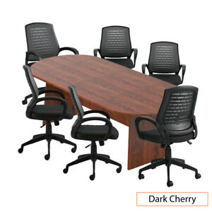 Gof 8 Ft Conference Table With 6 Chairs Dark Cherry 7 piece Table Set