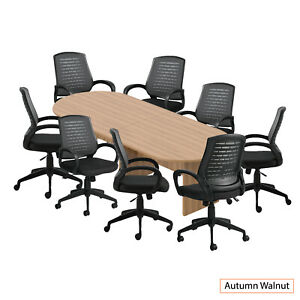Gof 10 Ft Conference Table With 8 Chairs Walnut 9 piece Table Set