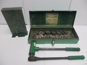 Greenlee Ratchet Knockout Punch Driver Puller 1804 And Die Set