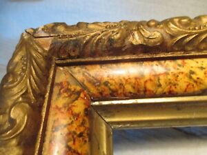 Antique Eastlake Victorian Wood Gesso Faux Marble Art Picture Frame Deepwell Old