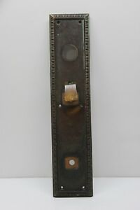 Vintage Large Heavy Solid Brass Door Handle Backplate W Thumb Latch Victorian
