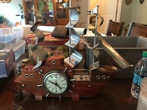 Vintage United Wooden Ship W Working Electric Clock Night Lights